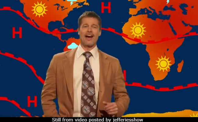 Brad Pitt Makes A Comeback As The Depressing Weatherman In The Jim Jefferies Show