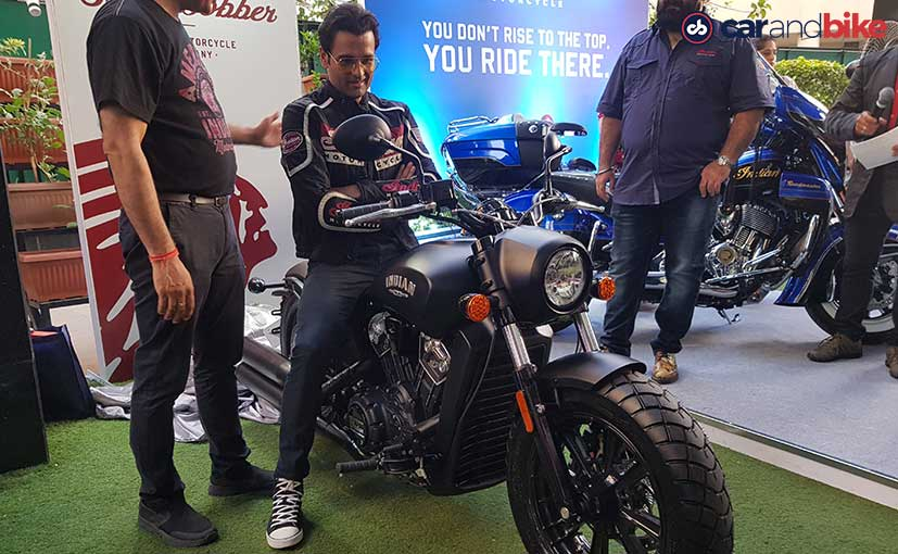Rohit Roy poses with his newly purchased Indian Scout Bobber cruiser