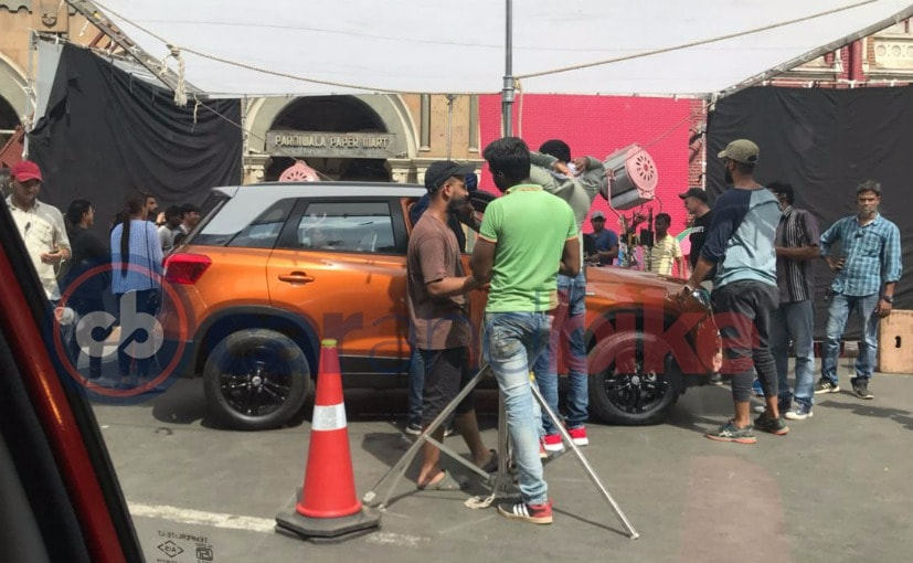 maruti suzuki vitara brezza orange colour spied
