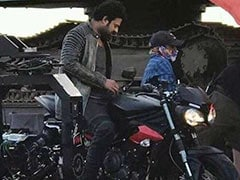 Actor Prabhas Spotted On A Triumph Street Triple Shooting His Next - Saaho