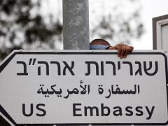 US Embassy Road Signs Go Up In Jerusalem