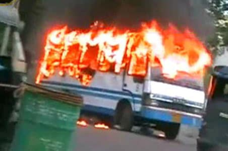 School bus catches fire; 8 children in serious condition