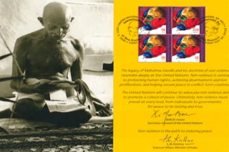 United Nations releases Gandhi stamp