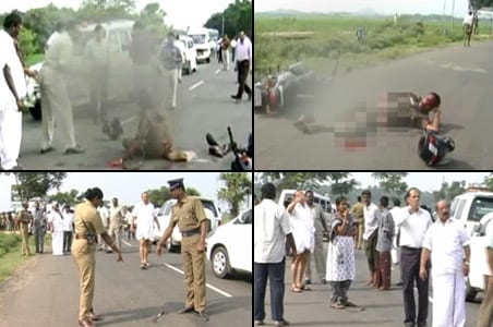 Policeman attacked on road, ministers stare from cars, don't help