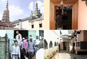 Mosque windows open into Hindu temple