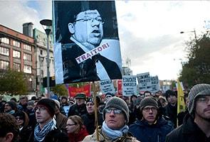 Demonstrators in Ireland protest austerity plan