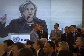 Gaddafi must surrender power now, says Hillary Clinton