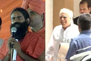 Baba Ramdev meets with ministers at Claridges Hotel