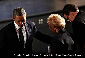 Barack Obama tells town 'these tragedies must end'