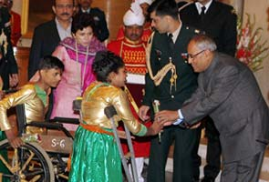 President Pranab Mukherjee spends birtday with differently-abled children