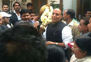 At Rajnath Singh's house, drums and fireworks