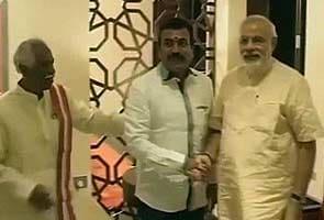 Narendra Modi arrives in Hyderabad, meets BJP leaders, ex-bureaucrats