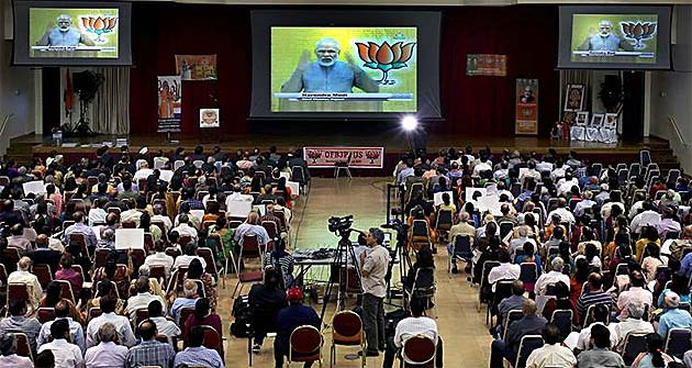 Narendra Modi flaunts Gujarat hat-trick, says time for UPA to give some answers