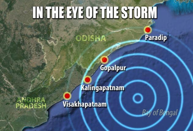 'Very severe' Cyclone Phailin heads for Odisha, Andhra Pradesh at wind speed of 200 km per hour