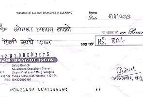 For this Maharashtra farmer, a cheque for Rs 80. That's some relief!