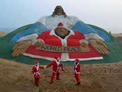 World's biggest sand Jesus at Puri beach