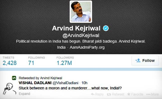 Arvind Kejriwal retweets controversial comment on Narendra Modi, Rahul Gandhi