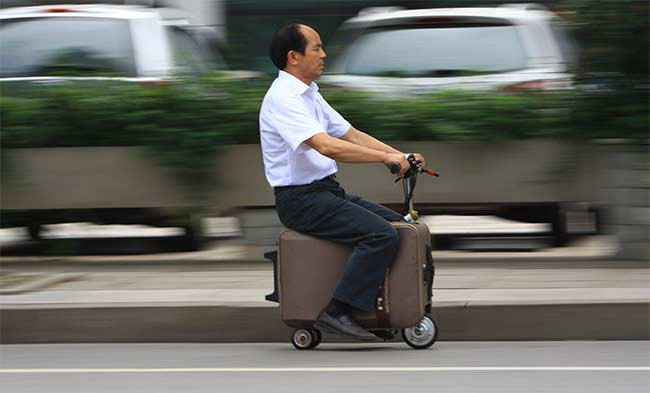 Chinese Man Builds Scooter With Suitcase: Report