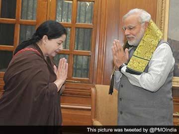 Jayalalithaa Meets PM Narendra Modi in Delhi