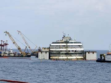 Wrecked Italian Cruise Ship Costa Concordia Refloated