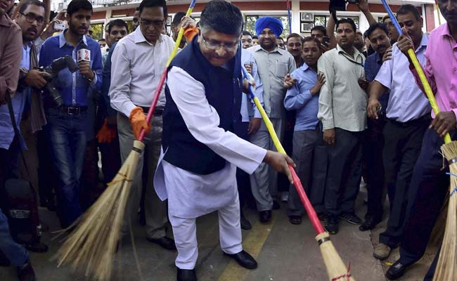 For PM Modi's Clean India Mission, Ministers Pick Up Broom