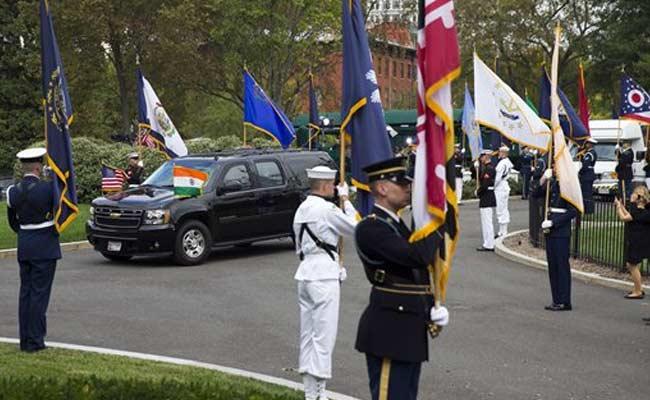 For PM Narendra Modi, Military Honour Cordon Lined White House Driveway
