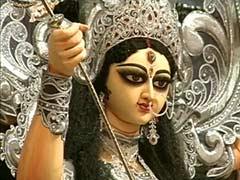 Durga Puja Revellers Line up to See Diamond-Studded Idols