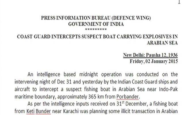 Pakistani Boat Was Carrying Explosives, Says Government Statement