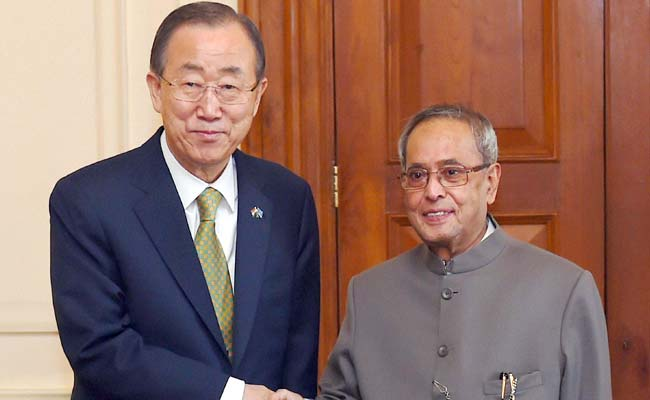 President Pranab Mukherjee Pushes for Reforms in Meeting With UN Secretary-General