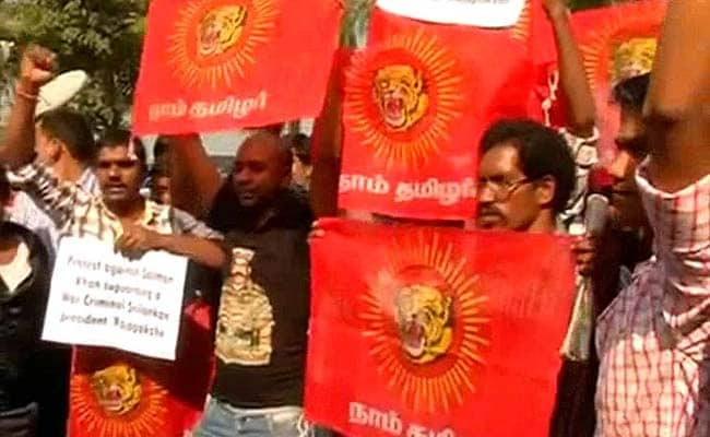 Pro-Tamil Groups Protest Outside Actor Salman Khan's House