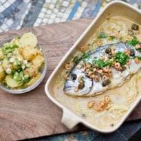 Angela Hartnett's Sea Bream With Brown Shrimp and Capers Recipe