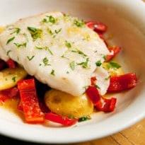 Angela Hartnett's Cod With Peppers, Rosemary and Garlic Recipe