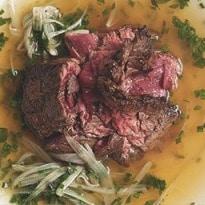 Nigel Slater's midweek dinner: skirt steak with herb broth | Nigel Slater