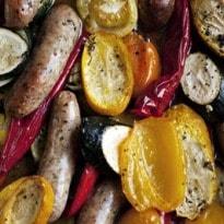 Nigel Slater's Sausages With Summer Vegetables Recipe