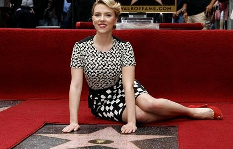 Scarlett Johansson gets a star on the Hollywood Walk of Fame