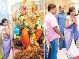 Poonam Pandey almost unrecognizable in sari at Ganpati puja