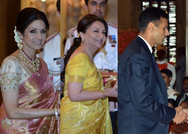 Sridevi receives her Padma Shri, Sharmila Tagore, Rahul Dravid the Padma Bhushan