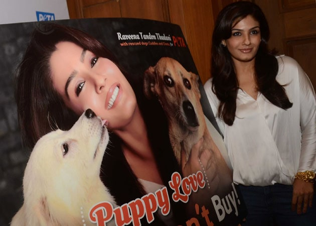 Adopt stray dogs, says Raveena Tandon in PETA campaign