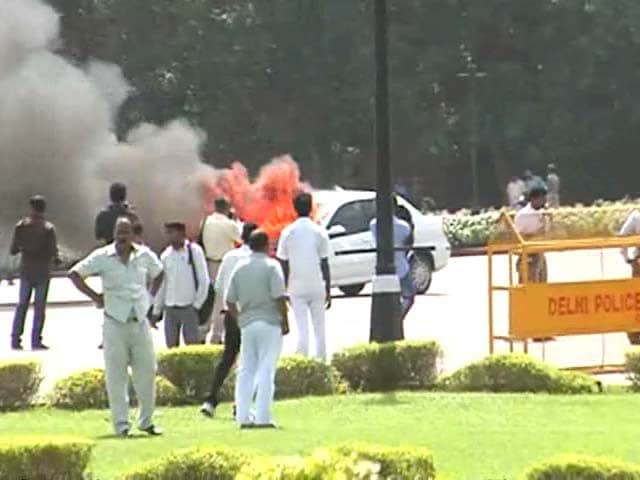 Video : Car parked outside Parliament catches fire, no one injured