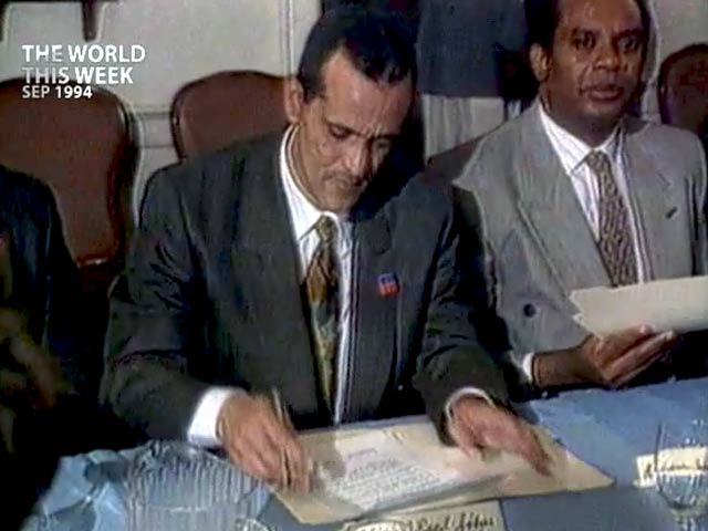 Video : The World This Week: Accord signed between US and Haiti (Aired: September 1994)