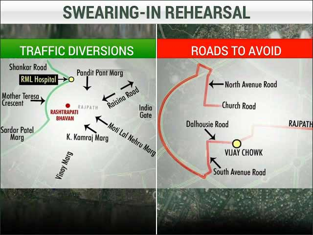 Video : Rehearsal for Narendra Modi's Swearing-In: Roads to Avoid