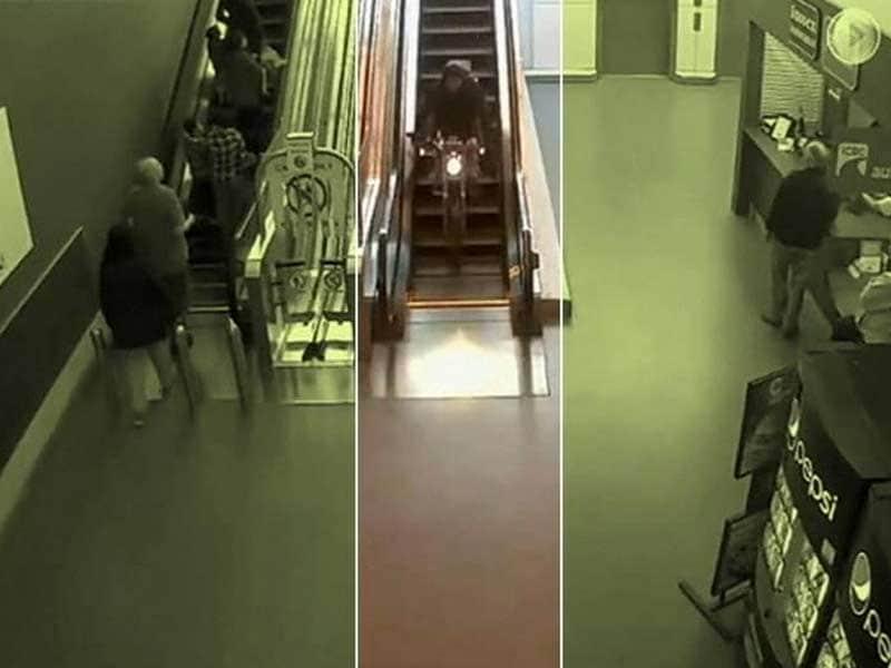 Video : Caught on Camera: To Escape Cops, Biker Rides Down Escalator in Mall