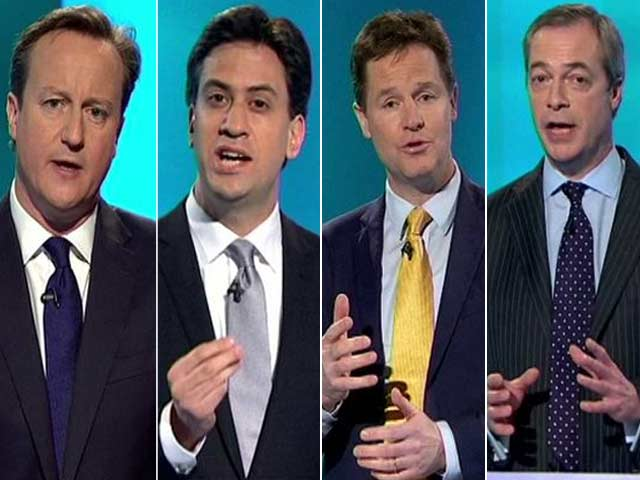 Video : David Cameron Faces Off Against Ed Miliband in Britain's Big 7-Candidate Debate