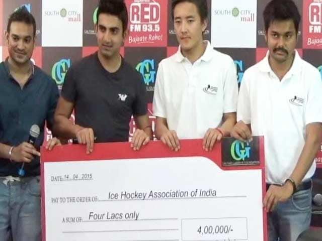 Video : Gautam Gambhir Throws his Weight Behind Indian Ice Hockey Team