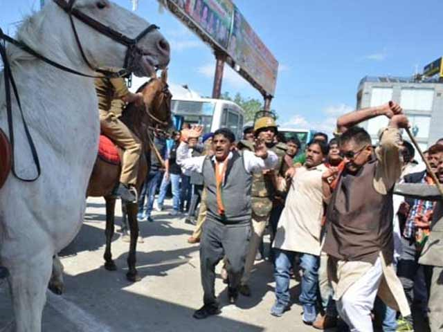 Video : Protest Stopped By Cops, Uttarakhand BJP Lawmaker Breaks Horse's Leg