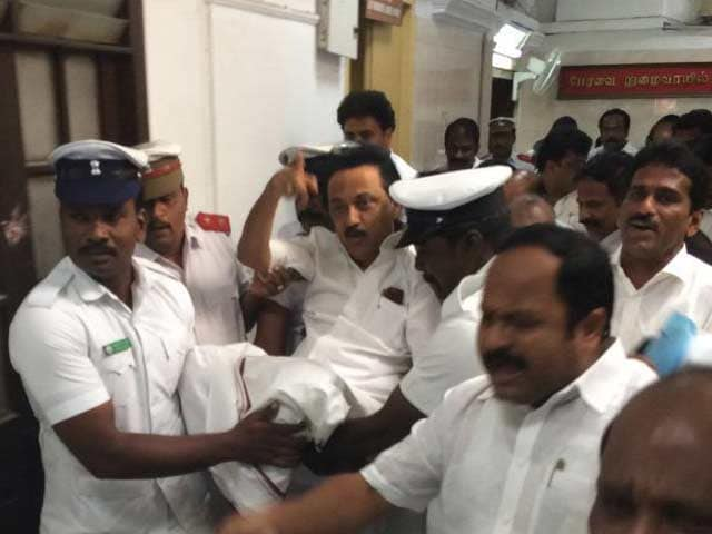 Video : MK Stalin Carried Out Of Tamil Nadu Assembly, Week-Long Ban On His Party
