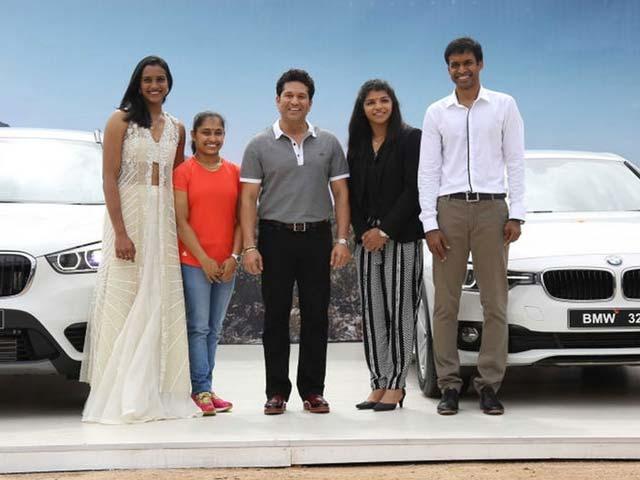 A BMW Each For Sindhu, Dipa, Sakshi. Sachin Tendulkar Does The Honours.