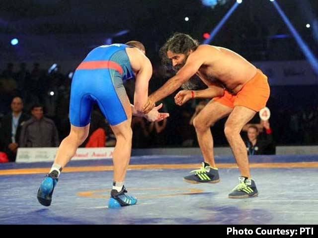 Ramdev Shows 'Dhaakad' Wrestling Skills In Bout With Olympic Medallist