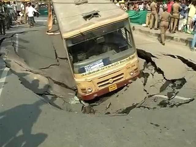 Video : Chennai Road Caves In, Takes Down Bus, Car