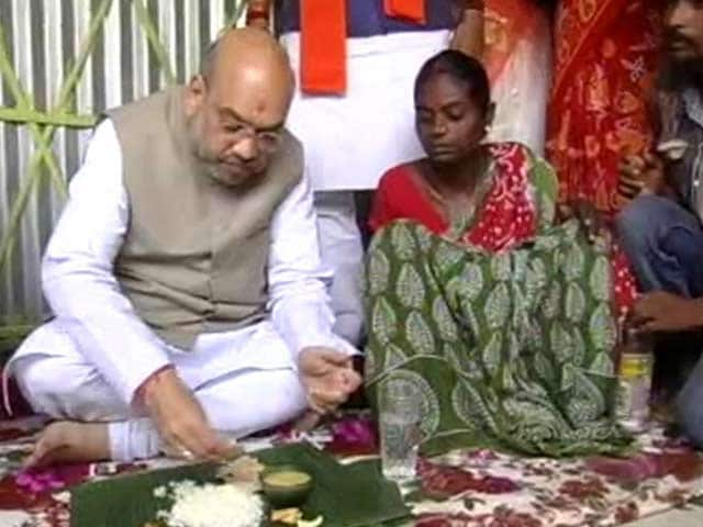 Video : Amit Shah Launches BJP's Mission Bengal With Lunch On Banana Leaf, Selfies